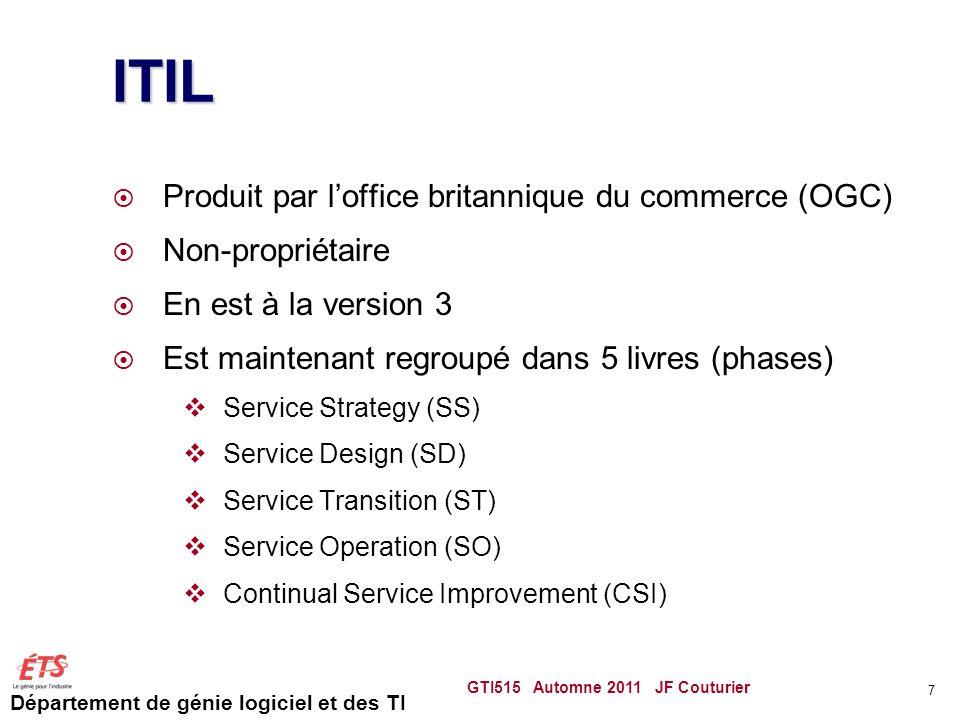 Département de génie logiciel et des TI ITIL Produit par loffice britannique du commerce (OGC) Non-propriétaire En est à la version 3 Est maintenant r