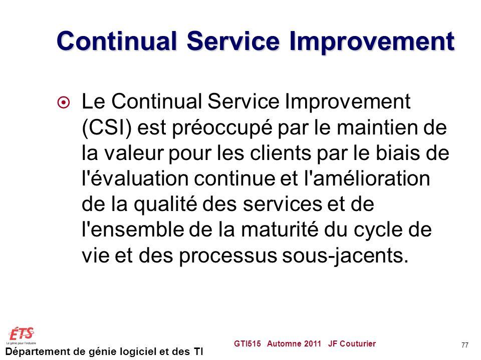 Département de génie logiciel et des TI Continual Service Improvement Le Continual Service Improvement (CSI) est préoccupé par le maintien de la valeu