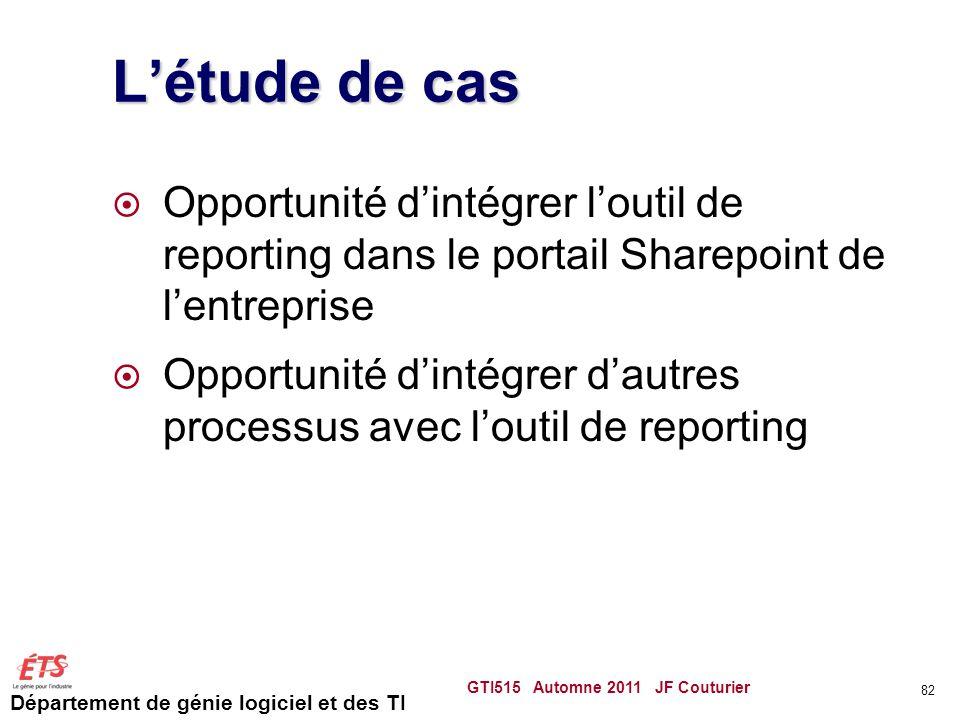 Département de génie logiciel et des TI Létude de cas Opportunité dintégrer loutil de reporting dans le portail Sharepoint de lentreprise Opportunité