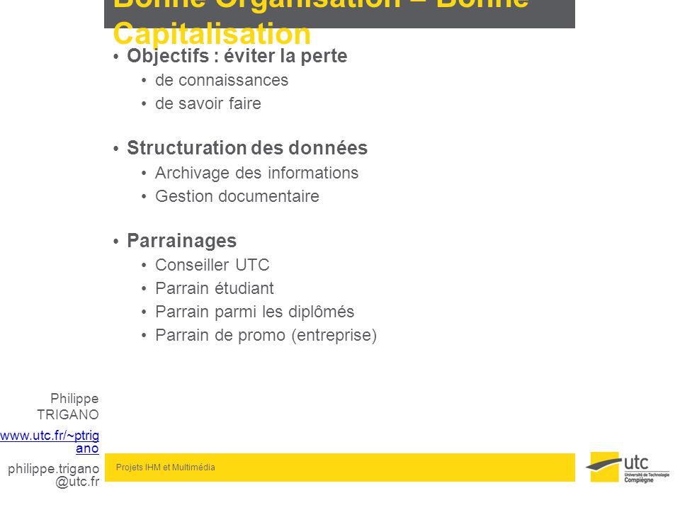 Philippe TRIGANO www.utc.fr/~ptrig ano philippe.trigano @utc.fr Projets IHM et Multimédia Bonne Organisation = Bonne Capitalisation Objectifs : éviter