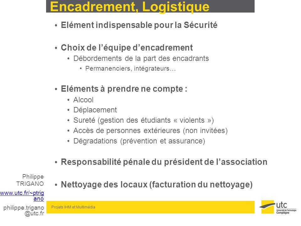 Philippe TRIGANO www.utc.fr/~ptrig ano philippe.trigano @utc.fr Projets IHM et Multimédia Encadrement, Logistique Elément indispensable pour la Sécuri