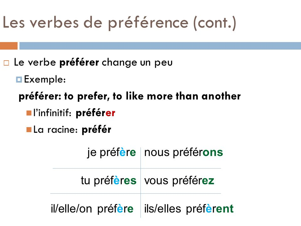 Les verbes de préférence (cont.) Le verbe préférer change un peu Exemple: préférer: to prefer, to like more than another linfinitif: préférer La racin