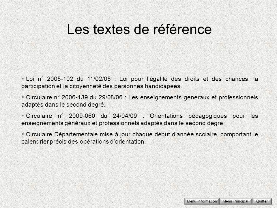 Menu Principal QuitterMenu Information Loi n° 2005-102 du 11/02/05 : Loi pour légalité des droits et des chances, la participation et la citoyenneté d
