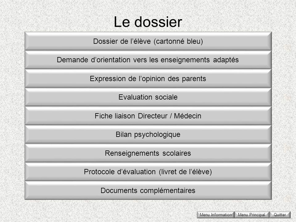Le dossier Dossier de lélève (cartonné bleu) Demande dorientation vers les enseignements adaptés Expression de lopinion des parents Evaluation sociale