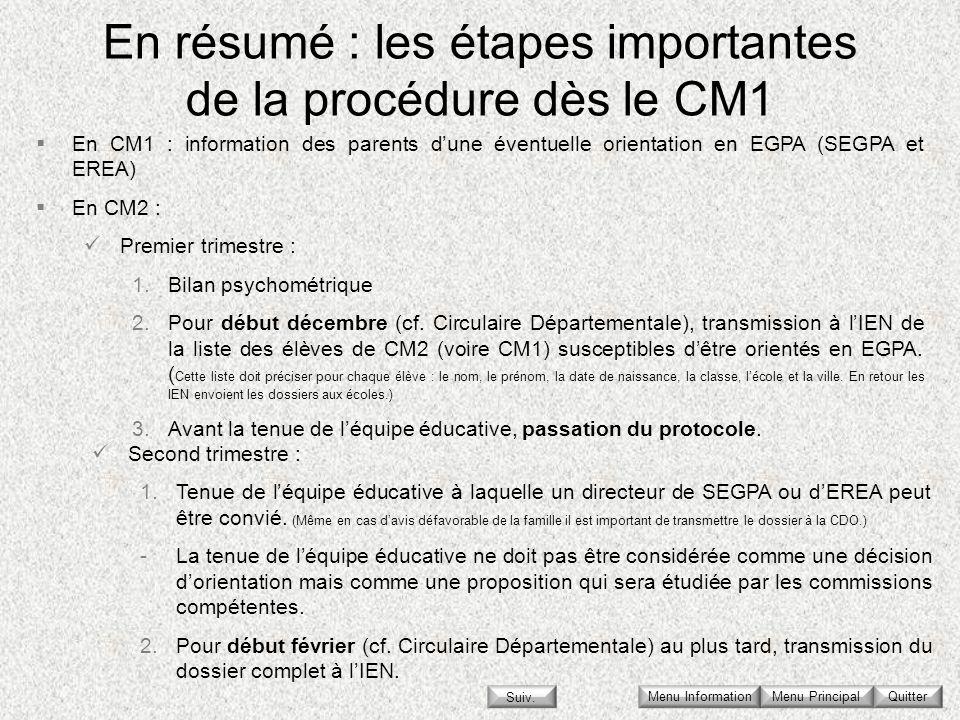 En résumé : les étapes importantes de la procédure dès le CM1 Menu Principal Quitter En CM1 : information des parents dune éventuelle orientation en E