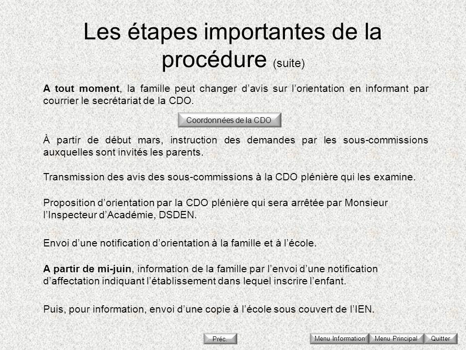 Les étapes importantes de la procédure (suite) Menu Principal Quitter À partir de début mars, instruction des demandes par les sous-commissions auxque