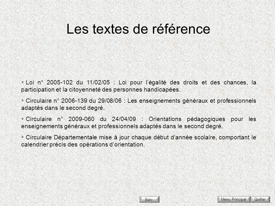 Les textes de référence Menu Principal Loi n° 2005-102 du 11/02/05 : Loi pour légalité des droits et des chances, la participation et la citoyenneté d