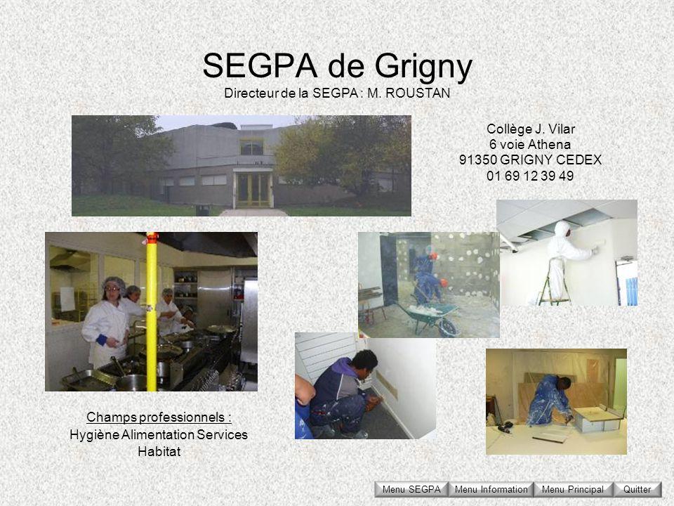 SEGPA de Grigny Collège J. Vilar 6 voie Athena 91350 GRIGNY CEDEX 01 69 12 39 49 Directeur de la SEGPA : M. ROUSTAN Champs professionnels : Hygiène Al