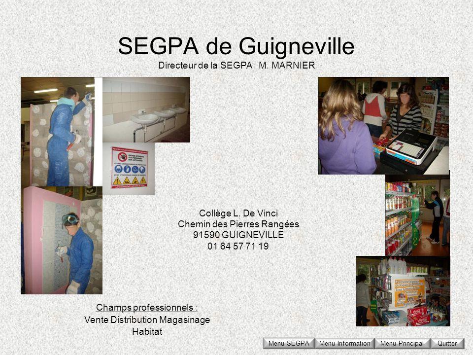SEGPA de Guigneville Collège L. De Vinci Chemin des Pierres Rangées 91590 GUIGNEVILLE 01 64 57 71 19 Directeur de la SEGPA : M. MARNIER Champs profess
