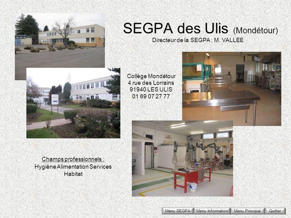 SEGPA des Ulis (Mondétour) Collège Mondétour 4 rue des Lorrains 91940 LES ULIS 01 69 07 27 77 Directeur de la SEGPA : M. VALLEE Champs professionnels