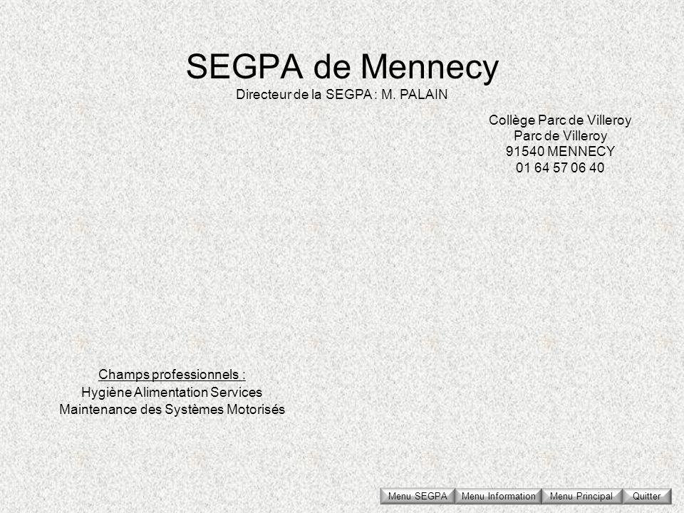 SEGPA de Mennecy Collège Parc de Villeroy Parc de Villeroy 91540 MENNECY 01 64 57 06 40 Directeur de la SEGPA : M. PALAIN Champs professionnels : Hygi