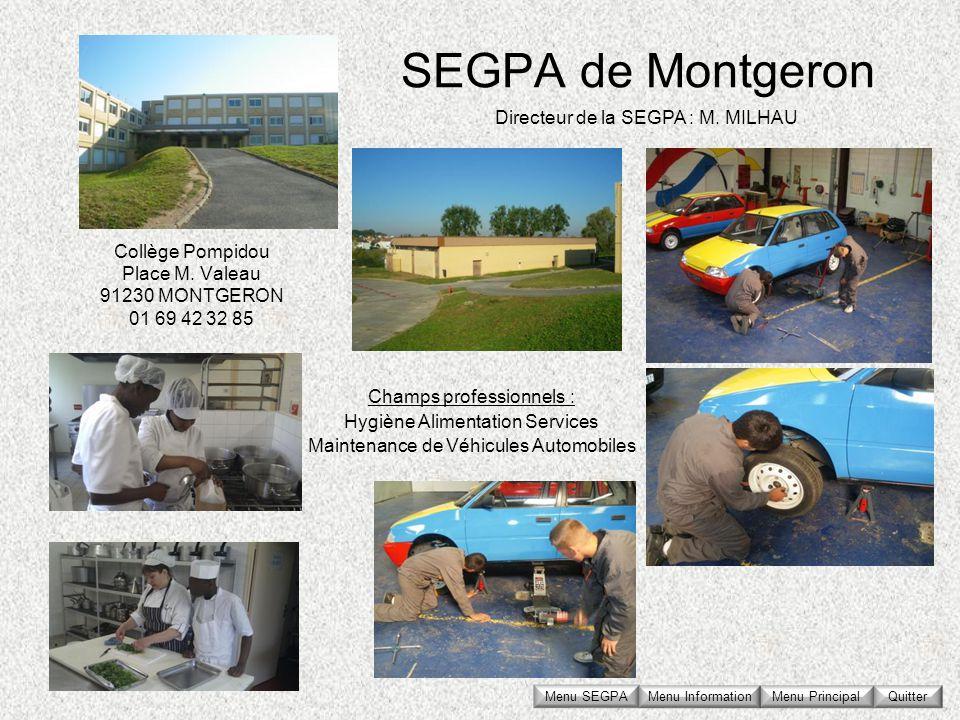 SEGPA de Montgeron Collège Pompidou Place M. Valeau 91230 MONTGERON 01 69 42 32 85 Directeur de la SEGPA : M. MILHAU Champs professionnels : Hygiène A