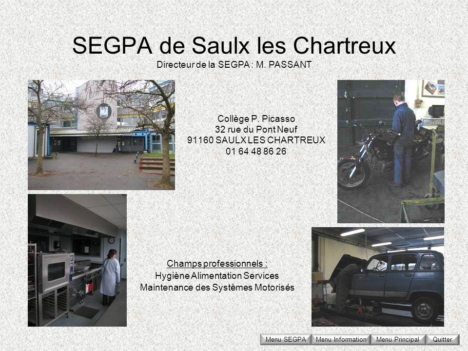 SEGPA de Saulx les Chartreux Collège P. Picasso 32 rue du Pont Neuf 91160 SAULX LES CHARTREUX 01 64 48 86 26 Directeur de la SEGPA : M. PASSANT Champs