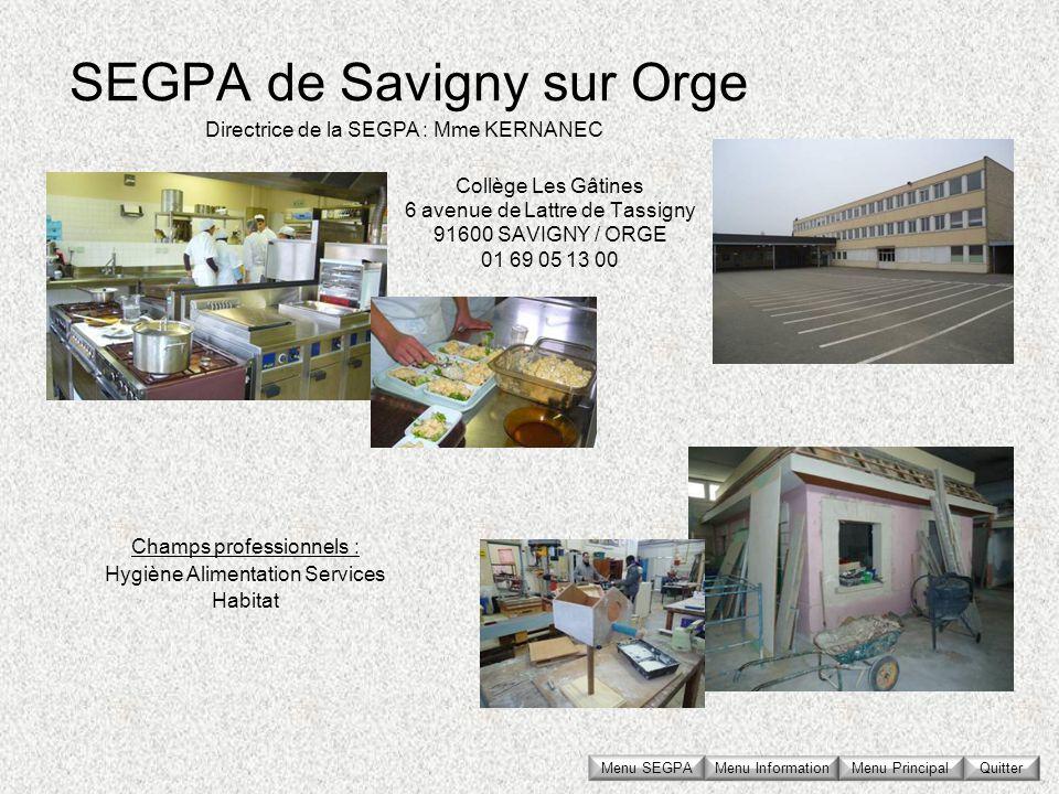 SEGPA de Savigny sur Orge Collège Les Gâtines 6 avenue de Lattre de Tassigny 91600 SAVIGNY / ORGE 01 69 05 13 00 Directrice de la SEGPA : Mme KERNANEC