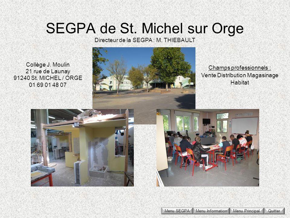 SEGPA de St. Michel sur Orge Collège J. Moulin 21 rue de Launay 91240 St. MICHEL / ORGE 01 69 01 48 07 Directeur de la SEGPA : M. THIEBAULT Champs pro