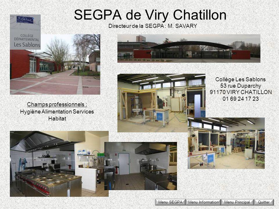 SEGPA de Viry Chatillon Collège Les Sablons 53 rue Duparchy 91170 VIRY CHATILLON 01 69 24 17 23 Directeur de la SEGPA : M. SAVARY Champs professionnel