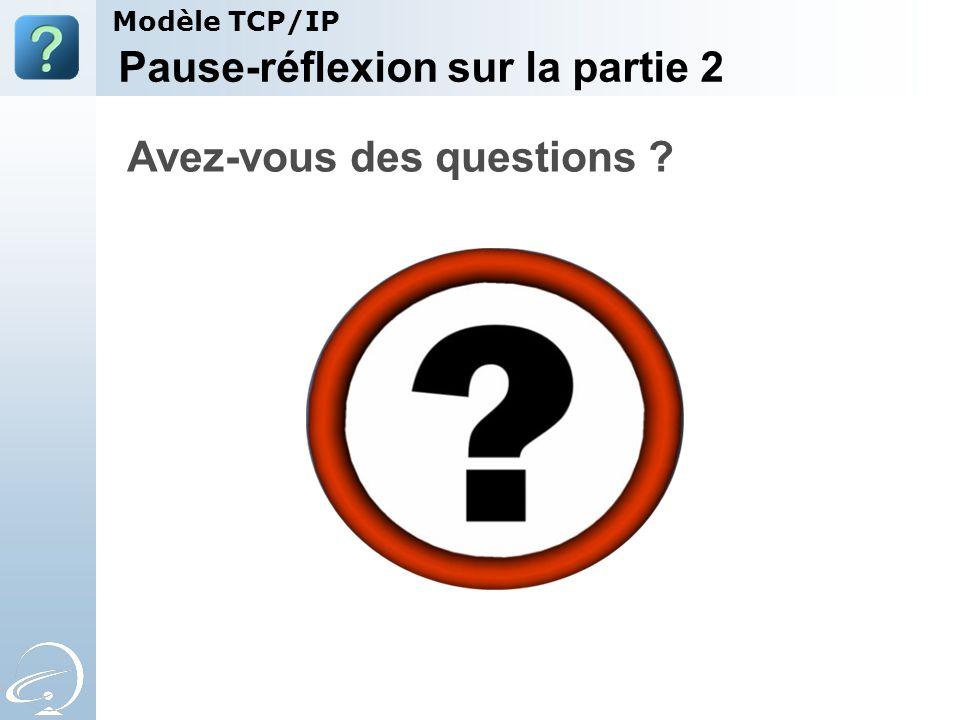Pause-réflexion sur la partie 2 Avez-vous des questions ? Modèle TCP/IP