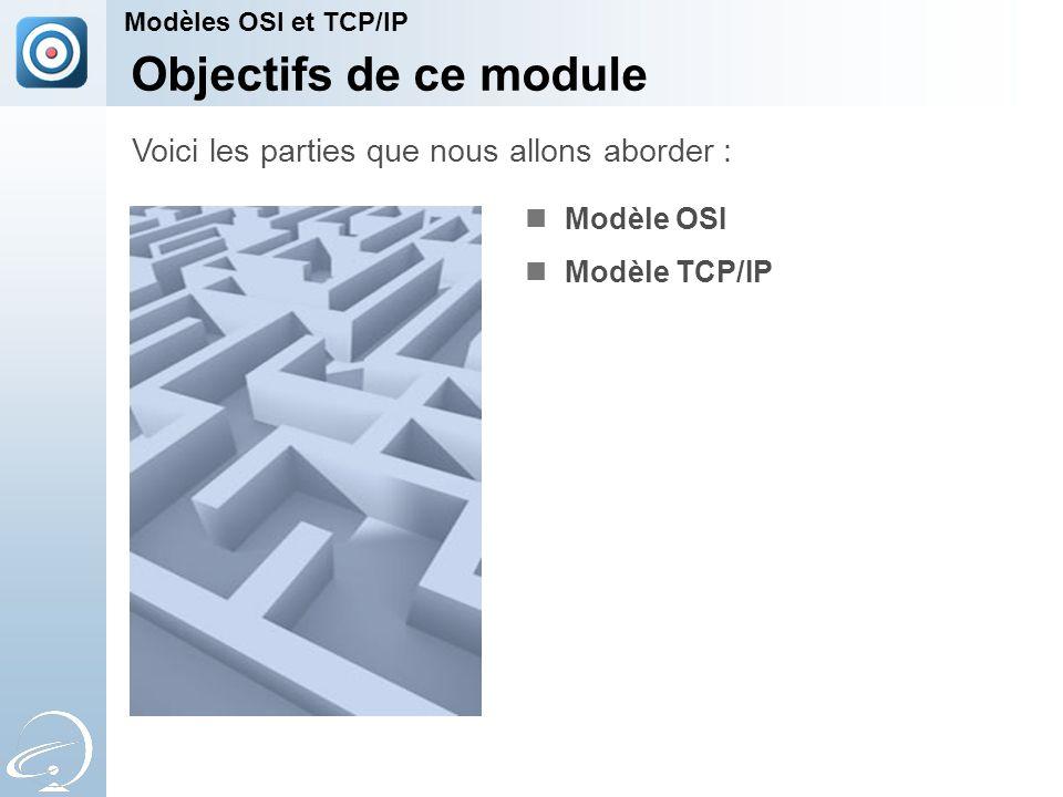 Modèle OSI Modèle TCP/IP Voici les parties que nous allons aborder : Modèles OSI et TCP/IP Objectifs de ce module