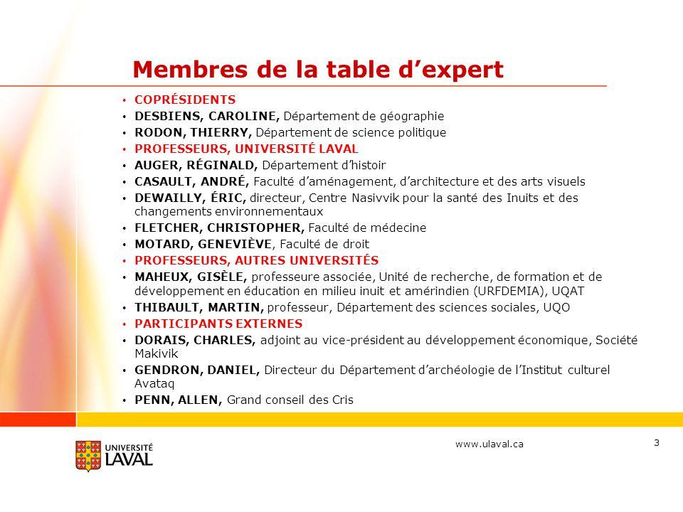 Membres de la table dexpert COPRÉSIDENTS DESBIENS, CAROLINE, Département de géographie RODON, THIERRY, Département de science politique PROFESSEURS,