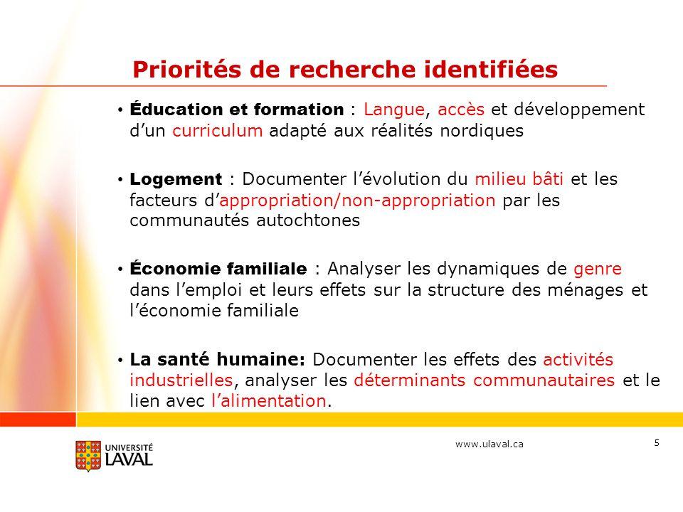 www.ulaval.ca 5 Priorités de recherche identifiées Éducation et formation : Langue, accès et développement dun curriculum adapté aux réalités nordique