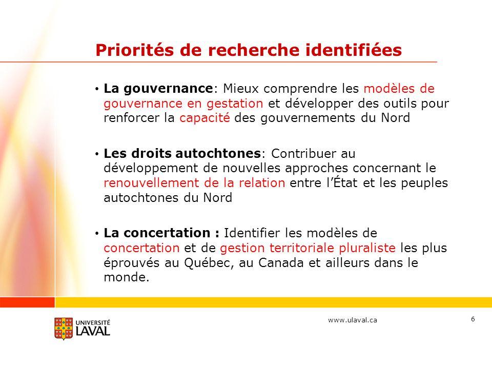 www.ulaval.ca Priorités de recherche identifiées La gouvernance: Mieux comprendre les modèles de gouvernance en gestation et développer des outils pou