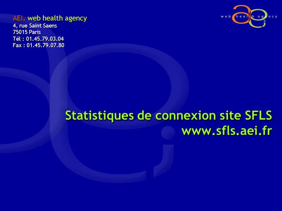 Statistiques de connexion site SFLS www.sfls.aei.fr AEI, web health agency 4, rue Saint Saens 75015 Paris Tél : 01.45.79.03.04 Fax : 01.45.79.07.80