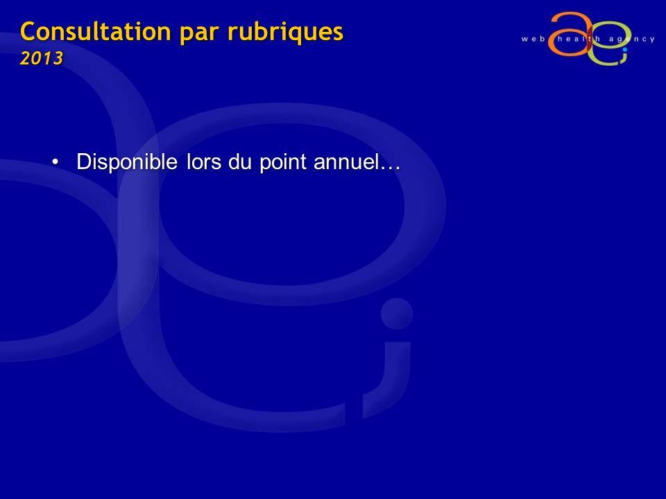 Consultation par rubriques 2013 Disponible lors du point annuel…