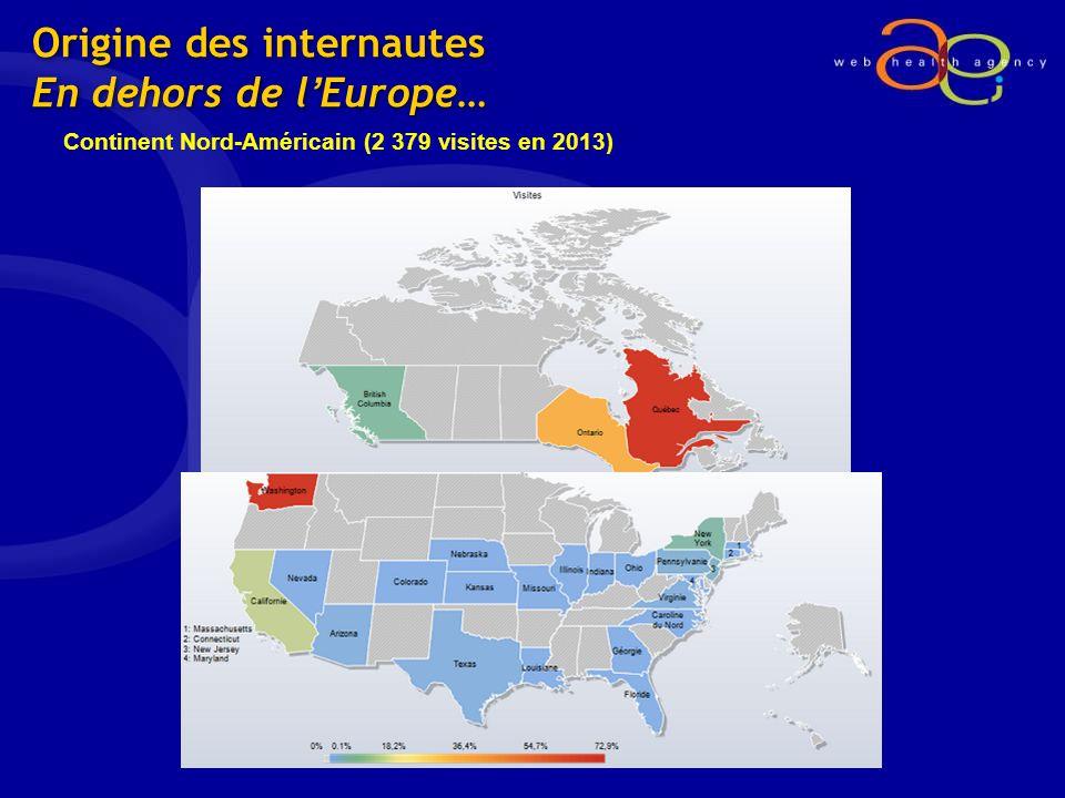 Origine des internautes En dehors de lEurope… Continent Nord-Américain (2 379 visites en 2013)