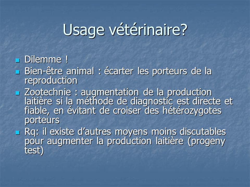 Usage vétérinaire? Dilemme ! Dilemme ! Bien-être animal : écarter les porteurs de la reproduction Bien-être animal : écarter les porteurs de la reprod