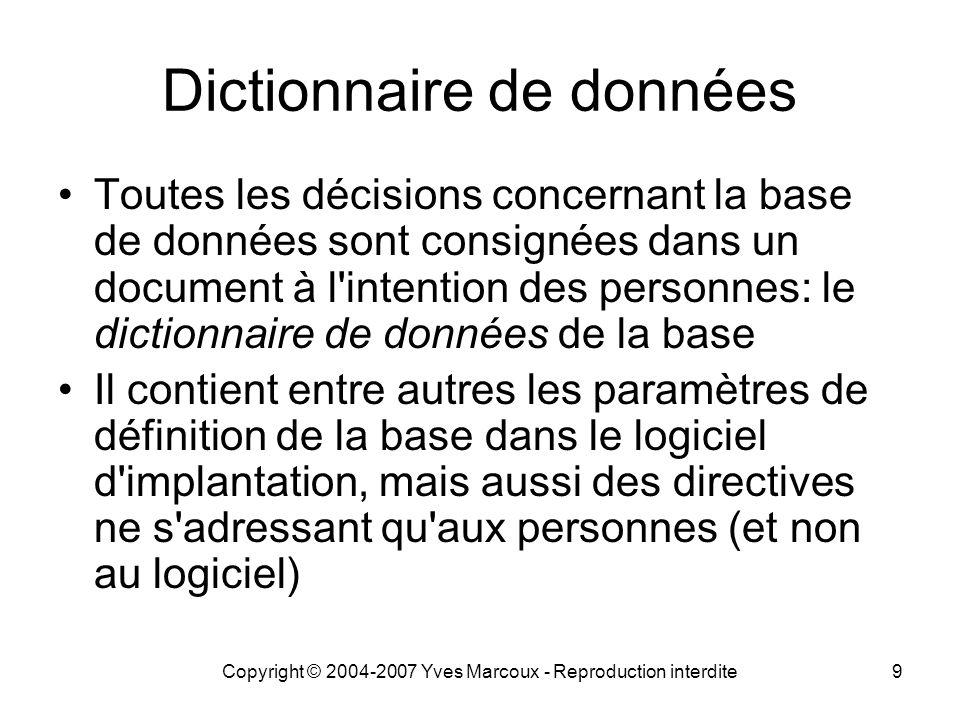 Copyright © 2004-2007 Yves Marcoux - Reproduction interdite9 Dictionnaire de données Toutes les décisions concernant la base de données sont consignée