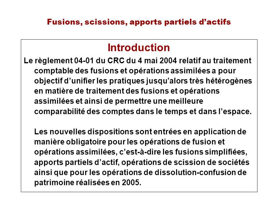 Fusions, scissions, apports partiels dactifs Introduction Le règlement 04-01 du CRC du 4 mai 2004 relatif au traitement comptable des fusions et opéra