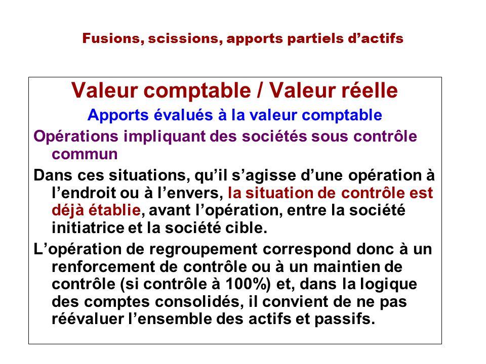 Fusions, scissions, apports partiels dactifs Valeur comptable / Valeur réelle Apports évalués à la valeur comptable Opérations impliquant des sociétés