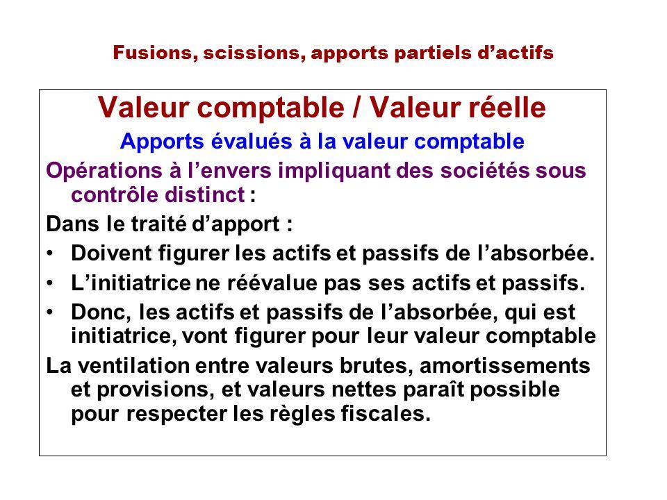 Fusions, scissions, apports partiels dactifs Valeur comptable / Valeur réelle Apports évalués à la valeur comptable Opérations à lenvers impliquant de