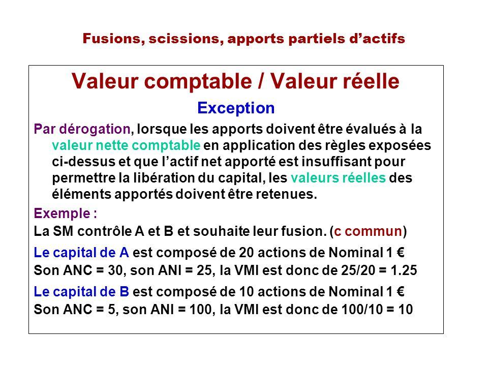 Fusions, scissions, apports partiels dactifs Valeur comptable / Valeur réelle Exception Par dérogation, lorsque les apports doivent être évalués à la