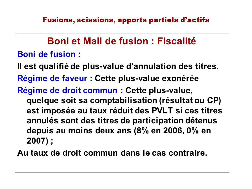 Fusions, scissions, apports partiels dactifs Boni et Mali de fusion : Fiscalité Boni de fusion : Il est qualifié de plus-value dannulation des titres.