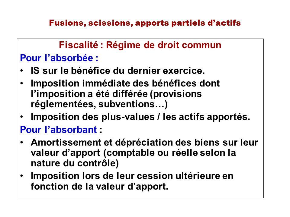 Fusions, scissions, apports partiels dactifs Fiscalité : Régime de droit commun Pour labsorbée : IS sur le bénéfice du dernier exercice. Imposition im