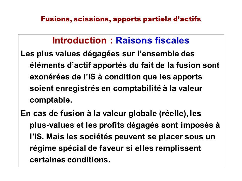 Fusions, scissions, apports partiels dactifs Introduction : Raisons fiscales Les plus values dégagées sur lensemble des éléments dactif apportés du fa