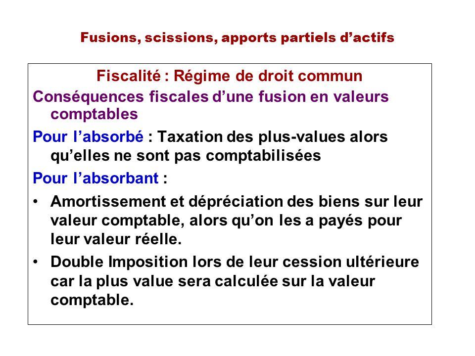 Fusions, scissions, apports partiels dactifs Fiscalité : Régime de droit commun Conséquences fiscales dune fusion en valeurs comptables Pour labsorbé