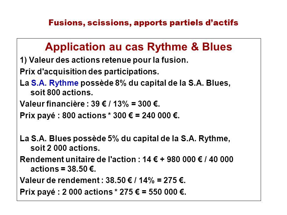 Fusions, scissions, apports partiels dactifs Application au cas Rythme & Blues 1) Valeur des actions retenue pour la fusion. Prix d'acquisition des pa