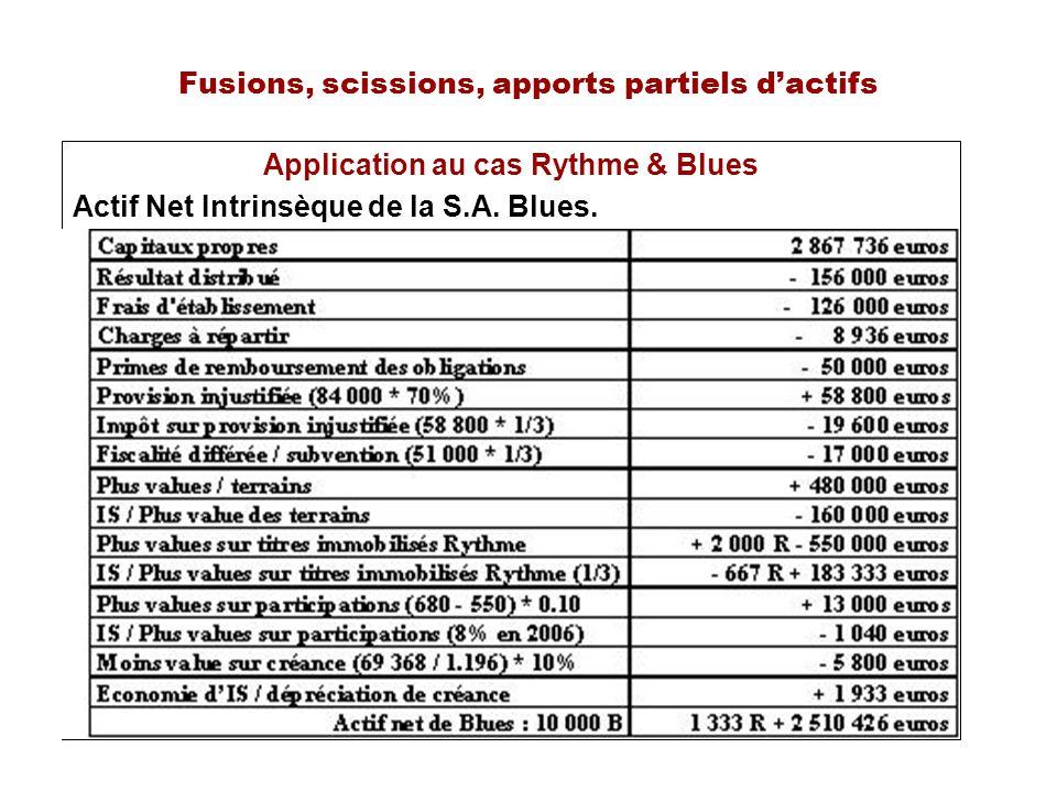 Fusions, scissions, apports partiels dactifs Application au cas Rythme & Blues Actif Net Intrinsèque de la S.A. Blues.
