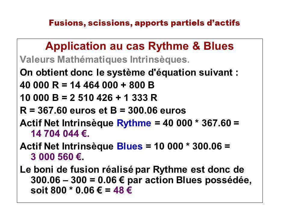 Fusions, scissions, apports partiels dactifs Application au cas Rythme & Blues Valeurs Mathématiques Intrinsèques. On obtient donc le système d'équati