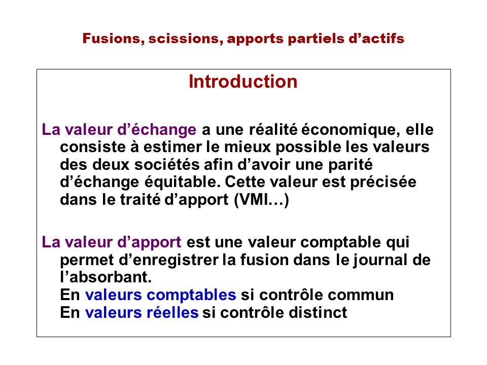 Fusions, scissions, apports partiels dactifs Introduction La valeur déchange a une réalité économique, elle consiste à estimer le mieux possible les valeurs des deux sociétés afin davoir une parité déchange équitable.