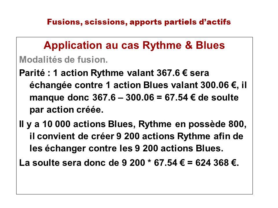 Fusions, scissions, apports partiels dactifs Application au cas Rythme & Blues Modalités de fusion. Parité : 1 action Rythme valant 367.6 sera échangé