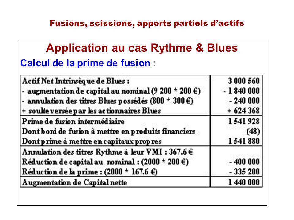 Fusions, scissions, apports partiels dactifs Application au cas Rythme & Blues Calcul de la prime de fusion :