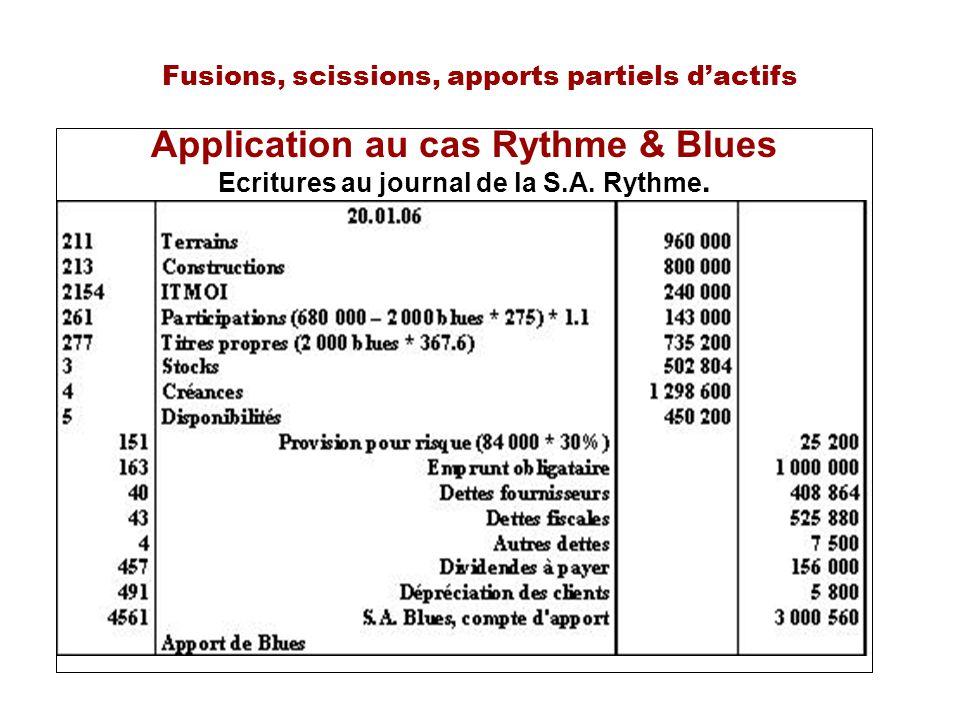 Fusions, scissions, apports partiels dactifs Application au cas Rythme & Blues Ecritures au journal de la S.A. Rythme.