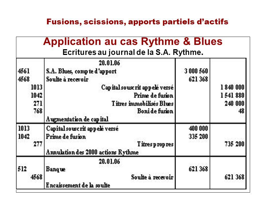 Fusions, scissions, apports partiels dactifs Application au cas Rythme & Blues Ecritures au journal de la S.A.