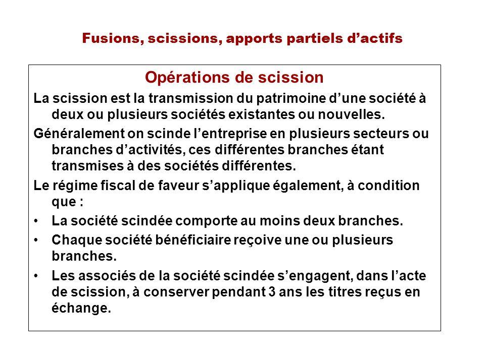 Fusions, scissions, apports partiels dactifs Opérations de scission La scission est la transmission du patrimoine dune société à deux ou plusieurs sociétés existantes ou nouvelles.