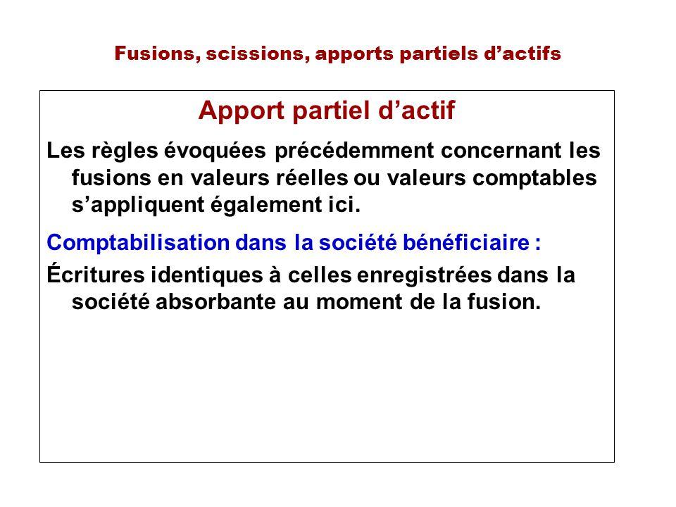 Fusions, scissions, apports partiels dactifs Apport partiel dactif Les règles évoquées précédemment concernant les fusions en valeurs réelles ou valeurs comptables sappliquent également ici.