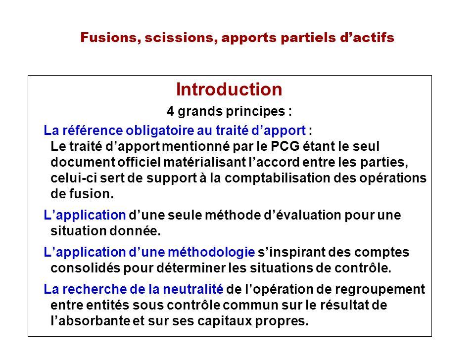 Fusions, scissions, apports partiels dactifs Introduction 4 grands principes : La référence obligatoire au traité dapport : Le traité dapport mentionn