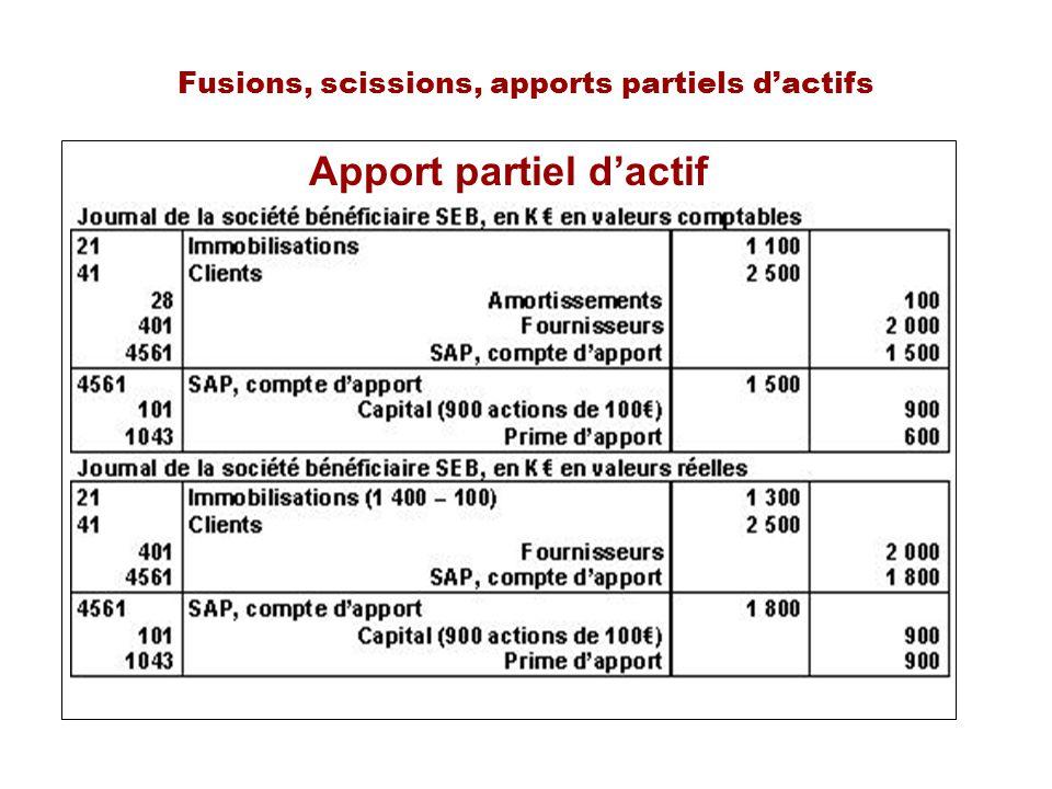 Fusions, scissions, apports partiels dactifs Apport partiel dactif